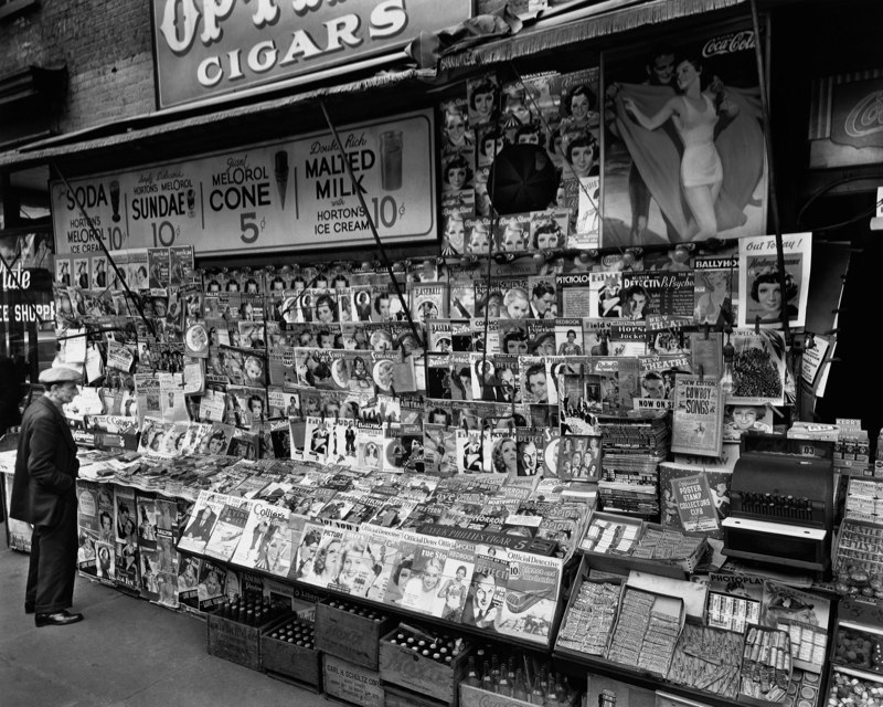 Newstand, New York City by Berenice Abbott. 1935.