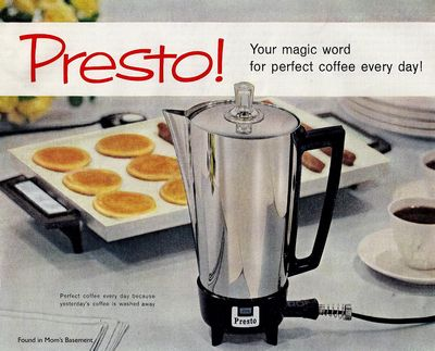 Ad For Presto Coffee Percolator. 1960