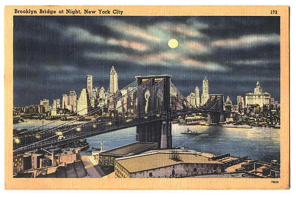 Vintage Postcard: Brooklyn Bridge at Night